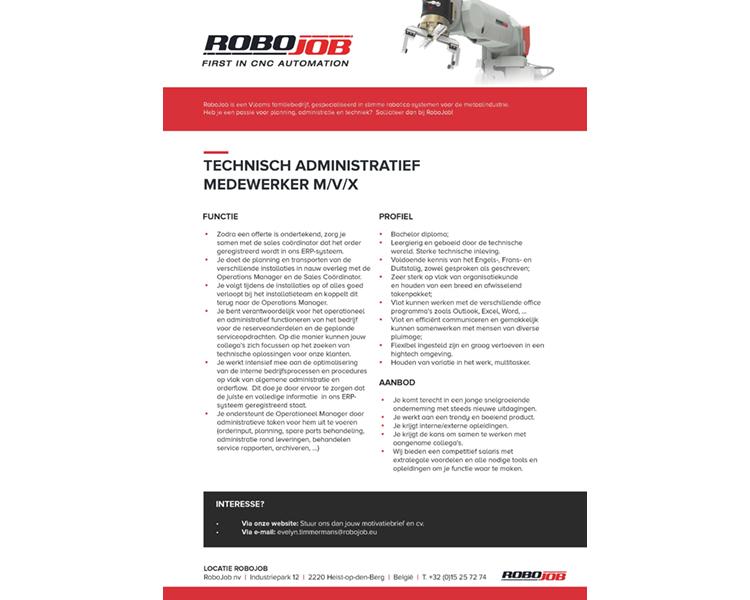 Robojob – Technisch administratief medewerker